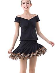 Latin Dance Outfits Women's Training Milk Fiber Draped / Pattern/Print / Pleated 2 Pieces Black Latin Dance Short Sleeve NaturalSkirt /