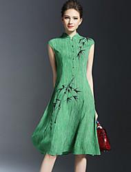 Women's Vintage Print Loose Dress,Stand Knee-length Linen
