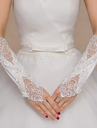 Elbow Length Fingerless Glove Satin / Lace Bridal Gloves / Party/ Evening Gloves