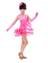 Latin Dance Children's Performance Cotton / Spandex Rhinestones Tassel(s) Dresses 4 Pieces