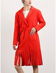 Women's Solid Red / White / Black Coat,Simple Long Sleeve Polyester
