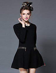 AOFULI Plus Size Women Dress 2016 Spring Vintage Fashion Elegant Slim Solid Long Sleeve Pleat Dress