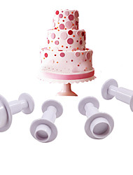 Round Plastic Fondant Plunger Cutters Fondant Cake Decorating Tools Cake Mold,Set of 4