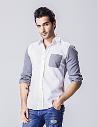 Men's Long Sleeve Shirt,Cotton / Polyester Casual Striped / Patchwork