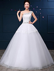 Ball Gown Wedding Dress-Floor-length One Shoulder Lace / Tulle