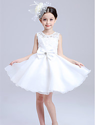 A-line Knee-length Double Bows Flower Girl Dress-Cotton / Satin / Tulle Sleeveless