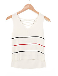 Women's Casual/Daily Cute Summer T-shirt,Striped V Neck Sleeveless White / Black / Gray Cotton Opaque