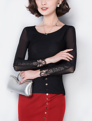 Women's Patchwork Black Blouse,Sexy/Plus Size Lace Embroidery Mesh Elegant Fashion Slim Nylon/Cotton