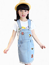 Girl's Blue Dress / Tee,Cartoon Cotton Summer