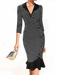 Women's Vintage Deep V Dress , Cotton Blends Knee-length ¾ Sleeve