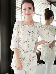 JISNEYWomen's Floral White Blouse,Round Neck ¾ Sleeve