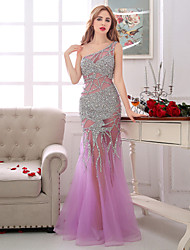 Formal Evening Dress Sheath / Column One Shoulder Floor-length Tulle with Beading / Crystal Detailing / Pearl Detailing / Sequins