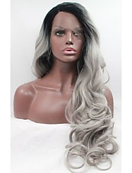 Fashion Wavy Ombre Silver Grey Synthetic Lace Front Wig Glueless Long Natural Black/Gray