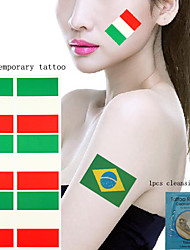 5Pcs National Flag  Temporary Tattoos +1Pcs Cleansing Wipes  Brazil Germany  USA  UK 5 Countries Choose