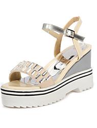 Women's Shoes Leatherette Wedge Heel Wedges Sandals Casual Black / Blue / Purple / Red / Beige