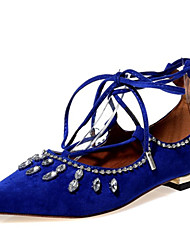 Women's Shoes Velvet Flat Heel Mary  / Pointed Toe Flats Party & Evening / Dress / Casual Black / Blue / Red
