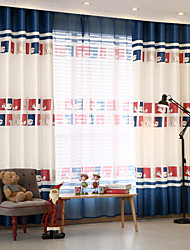 Two Panels Modern Cartoon Living Room Polyester Blackout Curtains Drapes