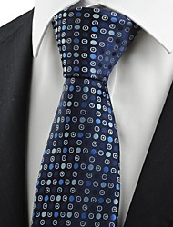 Navy Blue Polka Dot Circle Pattern Men's Tie Necktie Formal Business Gift KT0032