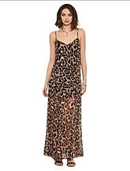 De las mujeres Gasa Vestido Boho Leopardo Maxi Con Tirantes Seda