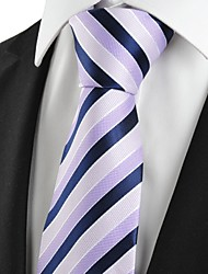 New Striped Lilac Navy Formal Men's Tie Necktie Wedding Party Holiday Gift #1021