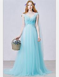 Formal vestido de noite - elegante uma linha v-pescoço varredura / escova treinar tulle com apliques beading