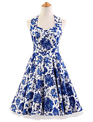 50s Era Vintage Style Halterneck Rockabilly Dress Audrey Hepburn Cosplay Costume Blue Floral (with Petticoat)