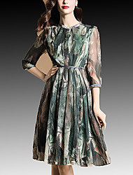 Women's Casual / Day Print A Line Dress , Stand Knee-length Polyester