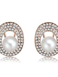 Women's Fashion Luxury Atmosphere Set Auger Pearl Stud Earrings