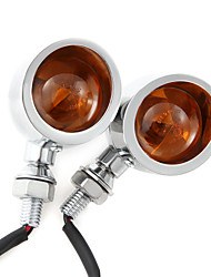 2X Silver Motorcycle Turn Signals Mini Bullet Blinker Amber Indicator Light