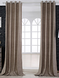 Two Panels Curtain Neoclassical , Solid Living Room Linen / Cotton Blend Material Curtains Drapes Home Decoration For Window