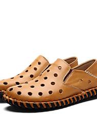 Sapatos Masculinos-Mocassins-Preto / Marrom / Amarelo-Couro-Casamento