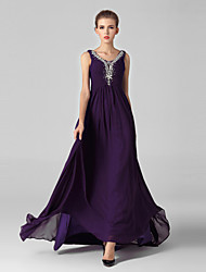 Formal Evening Dress Ball Gown V-neck Sweep / Brush Train Tulle / Sequined with Crystal Detailing / Side Draping