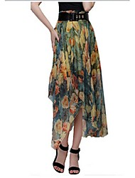 Women's Floral Red / Yellow Skirts,Casual / Day / Beach Maxi