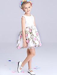 Girl's Pink / White Dress / Skirt,Floral Polyester Summer / Spring / Fall