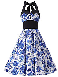 Women's Blue and White Floral Dress , Black Collars Big Buttons Vintage Halter 50s Rockabilly Swing Dress