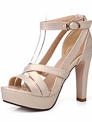 Women's Shoes Chunky Heel Peep Toe / Platform Sandals Wedding / Party & Evening / Dress Black / Pink / White / Almond