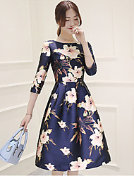 Women's Vintage Floral Sheath Dress,Round Neck Knee-length Polyester
