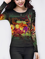 Women's Floral Multi-color Blouse,Plus Size/ Casual Patchwork Pleated Elegant Fashion Slim Nylon