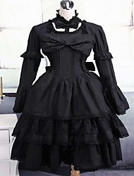 Steampunk® Black Cotton Gothic Lolita Dress