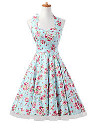 50s Era Vintage Style Halterneck Rockabilly Dress Audrey Hepburn Cosplay Costume Mint Floral (with Petticoat)