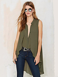 Women's Casual/Daily Street chic Summer Blouse,Solid V Neck Sleeveless Green Polyester Thin