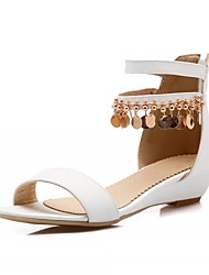 Women's Shoes Leatherette Wedge Heel Peep Toe Sandals Outdoor / Office & Career / Party & Evening White / Silver / Gold