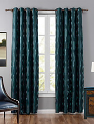 One Panel Neoclassical Stripe Blue Bedroom Polyester Blackout Curtains Drapes