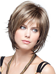 New Women Lady Short Synthetic Hair Wigs Pixie Cut Straight Hair Brown mix Wig