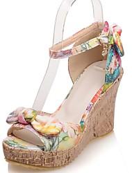 Women's Shoes Wedge Heel Wedges / Peep Toe / Platform Sandals Party & Evening / Dress / Casual Yellow / Orange