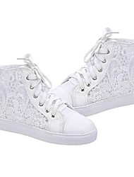 Women's Shoes Breathable Lace Hollow out Flat Heel Comfort Fashion Sneakers Outdoor / Athletic / Casual White