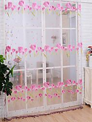 1 панель Деревня Цветочные / ботанический В соответствии с фото Гостиная Полиэстер Занавески Оттенки