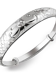 Women's Bracelet Sterling Silver Plated Sample Fish Pattern Bangle Bracelet Wedding Bride