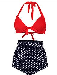 Shaperdiva Women's Push up Polka Vintage High Waist Bikini Swimsuits Swimwear