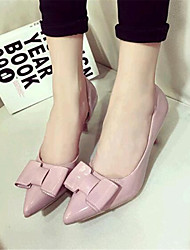 Women's Shoes Leatherette Spring / Fall Heels Wedding / Party & Evening Stiletto Heel Bowknot Pink / White / Gray